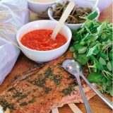 smoked salmon with mixed dipping sauces
