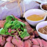 Roast beef with dipping sauce