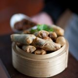 Deep fried lamb springrolls with soy sauce