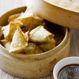Brie Pistachio Wontons  with Plum dipping