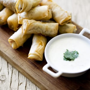 Duck Springrolls  with Yoghurt dip