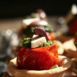 Roasted tomato with basil pesto and mozzarela Tart