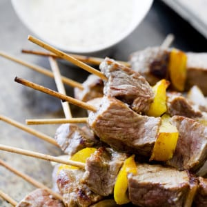 Rump skewers with Mustardy Mayo