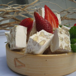 Nougat Bowl with Fresh Strawberries