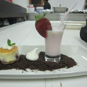 Strawberry milkshake and blueberry sponge