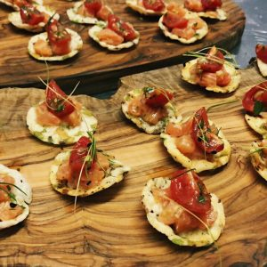 Citrus Salmon Ceviche on rice cakes