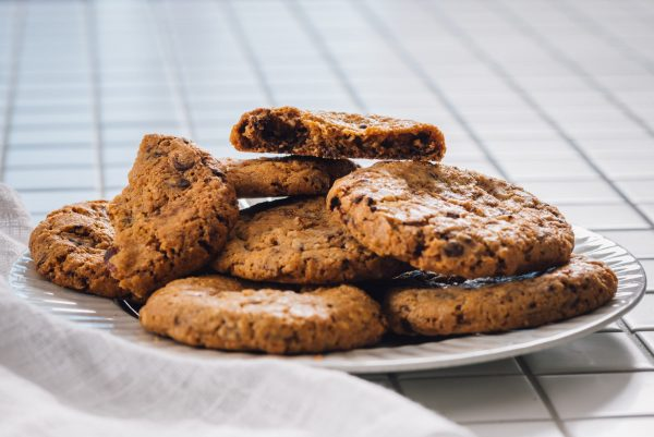 A plate of Large Chocolate Chip Cookies