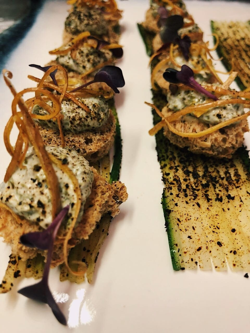 Seaweed Paté with crispy butternut and beetroot hair. - DishFood