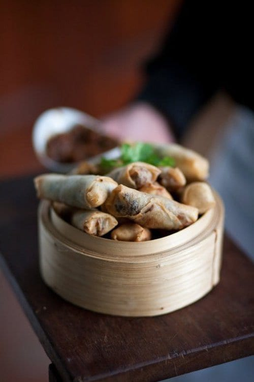 Deep fried lamb springrolls with soy sauce - DishFood