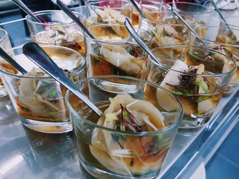 Peking Duck & Shitake Broth served with shitake and scallion dumplings and crisp Peking duck wontons on the side. - DishFood