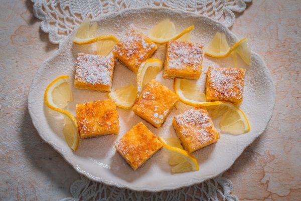 A plate of gooey lemon squares