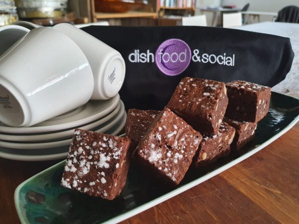 A plate of the legendary Dish chocolate and hazelnut brownies